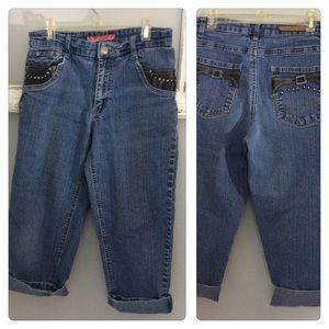 Cos Jean Capris leather stud Jeans Roll Hem 6P